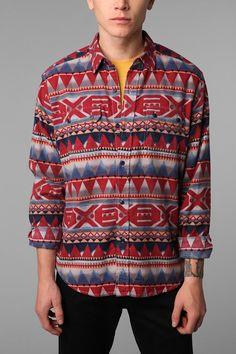 Esto esta bueno como para navidad :D Stapleford Printed Button-Down Shirt  #UrbanOutfitters