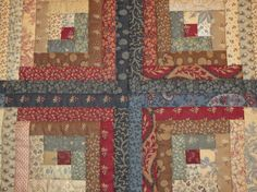 Warm and Captivating Log Cabin Quilt in Red, Blue, Cream and Brown Fabrics From Moda's Yorktown Collection.  For Queen or Full Size Bed.