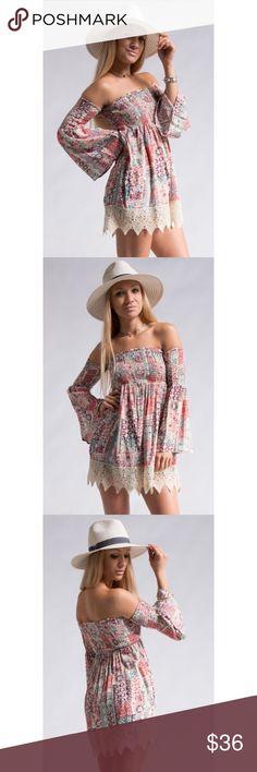 "🆕 Kelsey Boho Dress SPRING MUST 🙌🏽 CROCHET LACE HEM BOHEMIAN PRINT OFF SHOULDER DRESS. 💕 •100%RAYON. •MADE IN CHINA. **SMALL:  LENGTH 25"" BUST 11 1/2"" SLEEVE 18"" HEM 26"" Jubis Boutique Dresses Mini"