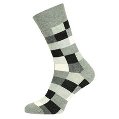Sokken met zwart wit en grijze blokjes.  www.myicover.nl