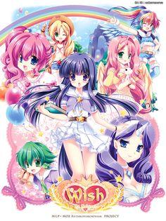 my little pony anime version Pinkiepie, Fluttershy, Rainbow Dash, Twilight Sparkle, Rarity