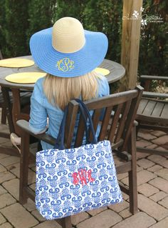 Initial Outfitters Monogrammed Sun Hats available in black, pink, & blue also pictured is the Quick Get Away Bag available in Coral and Blue. http//www.initialoutfitters.net/denamayfield & Find me on FB at Dena's Initial Outfitters