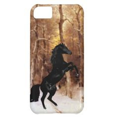 A friesian black beauty horse in winter snow iPhone 4s 5s 6s case