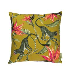 Cotton Ardmore cushion in Monkey Paradise design, Swamp colour. Floral Throw Pillows, Scatter Cushions, Decorative Throw Pillows, Cushion Pads, Cushion Covers, Pillow Covers, Silk Pillow, Cotton Pillow, Elements Of Art
