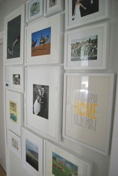 photo gallery wall; white IKEA Ribba frames. Upstairs hall between girls rooms. Pics of them with their friends.  Or maybe on the walls coming out of each if their rooms.