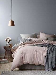 Wonderful Tips: House Interior Painting White living room paintings with wood trim.Bedroom Paintings Geometric interior painting tips thoughts.Interior Painting Tips People. Dream Bedroom, Home Bedroom, Master Bedrooms, Grey Bedrooms, Grey Bedroom Walls, Blush Bedroom Decor, Scandi Bedroom, Copper Bedroom Decor, Bedroom Ideas Grey