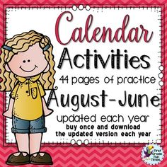 This calendar resource is perfect for morning work and includes 4 practice pages per month to practice using a calendar. With your purchase, it is updated each year so download again to get the new version each summer. This includes both the 2016-17 set AND has been updated for the 2017-18 school year. Buy this once and get the updated set each year for free!