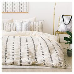 Gray Holli Zollinger French Linen Tribal Stripe Duvet Cover Set (King) - Deny Designs