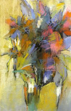 Bouquet with Yellow Green, 22x15 pastel on paper by Debora L. Stewart available at Huff Harrington Gallery, Atlanta, Georgia April 2016 sold