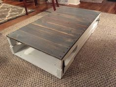 Wood Pallet Coffee Table no legs/wheels Made Coffee Table, Wood Pallets, Pallet Wood, Rustic Feel, Wheels, Remove Splinters, Legs, Tables, Farmhouse