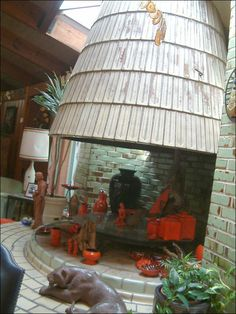 Fireplace in the Bruce Goff designed Sapulpa home of Frankoma pottery founders John and Grace Lee Frank