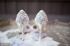 Glam white wedding shoes with gem studded heels {Heather Sherrill Photography}