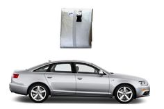 motorTREAT- Body Cover for Audi A6 - This body cover for Audi A6 from motortreat.com is of good Quality Fabric. It is Water-resistant and protects your car from dust and fading away of paint. It is light and easily handled. Matches body profile perfectly. It has Clamping. It is reflective silver colour to keep your car cool. - Elegant Silver Colour.