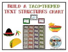This activity reviews the five common text structures that authors use giving students a chance to demonstrate their knowledge by matching task cards into a large chart.The theme of this activity is TACOS! Also included is a bonus game board where students challenge each other assembling the taco text structures chart while earning Chips and Salsa game pieces. **Heres a little spinner hack, if the funky arrow doesnt spin too smoothly on a bradtoss the arrow and simply use a pencil point and…