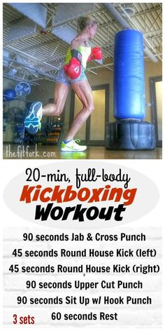 20 Minute Full Body Kickboxing Workout engages every muscle in the body and kicks up the cardio too!