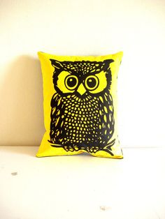Screenprint Owl Pillow by cronopia6 on Etsy, $14.00