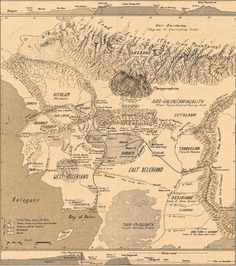 Map of Beleriand with Thangorodrim | Originally by Karen Wynn Fonstad and filtered by Breana Melvin