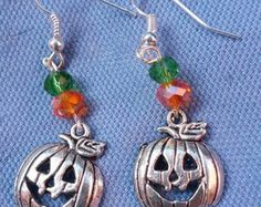 Check out Spring Sale Silver Pumpkin charm Bead Earring,pumpkin earring,Halloween earring,drop earring,dangle earring on dawnsbeadsdesigns