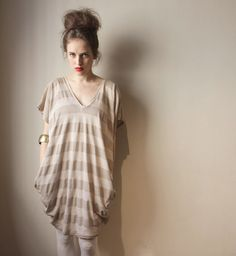 Oversize Stripes Women Tunic  Women Shirt Dress by BLUSHFASHION, $43.00