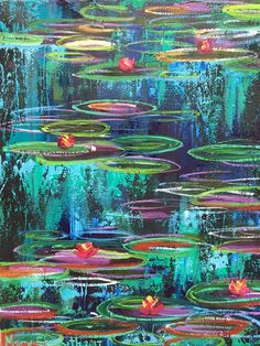 Water Lilies #4 Original Painting 10 x 8 Abstract Mixed Media Oil Painting on Canvas
