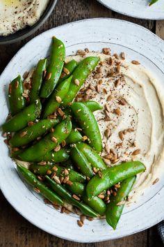 Harissa Snap Peas with Cashew Hummus & Sunflower Seed Za'atar | Snixy Kitchen