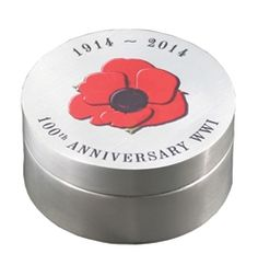 W.W.I 100th Anniversary Sterling Silver Box  A Beautiful Sterling Silver Box marking the 100th Anniversary of the outset of W.W.I  This very delicate round box has been exclusively produced for Pineapple by our silversmith Malin Winberg, with the evocative red poppy on the lid using a special printing technique. She will only be producing 100 of these boxes, which measure 65 mm in diameter, 30 mm deep, has over three ounces of silver and are hallmarked for 2014, the 100th Anniversary.