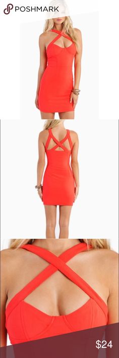 Tobi Captive Dress Size Small This bodycon dress is so sexy! It has only been worn once and has no flaws. It is a bright coral color, almost orange looking. It looks so good on! Size chart from the Tobi website is included in the pictures. Tobi Dresses Mini
