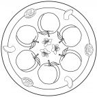 Peach Mandala for kids to color. Full-size version available for free from our website at www.kigaportal.com
