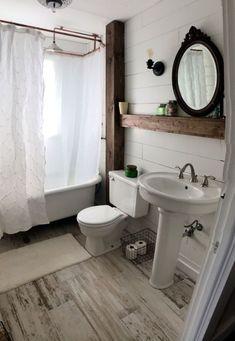 Rustic Small Bathroom Wood Decor Design Ideas 11