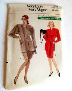 Vintage 1980s Vogue 7314 Very Easy Pattern Jacket by FranciesFare