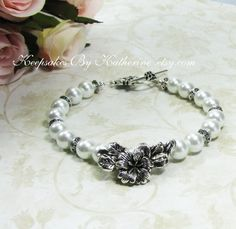 Pearl Bracelet with Flower by Keepsakes By Katherine