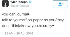 Tyler Joseph tweet about journals