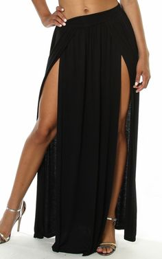Double Slit Long Maxi Skirt W/ Stretch WaistBand $22.95