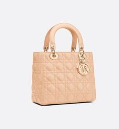 01b9c3860614 Lady Dior lambskin bag three quarter closed view