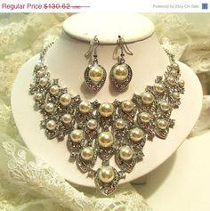 Bridal jewelry set pearl rhinestone bridal necklace by GlamDuchess