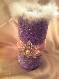 PURPLE GLITTER GLAM vase with cute pink by TheSparkleCinderella, $14.99
