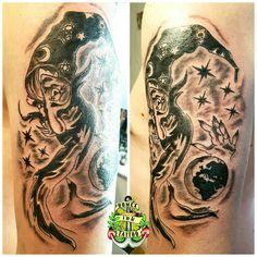 Domex ink Tattoo Oberarm Zauberer