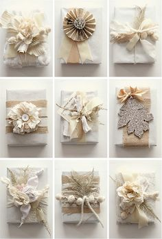 Add Sparkle to the Christmas gifts this year with these upbeat Christmas gift wrapping ideas. Use photo tags, pinecones, pompoms, etc. as gift wrap toppers. Creative Gift Wrapping, Present Wrapping, Creative Gifts, Diy Wrapping, Creative Ideas, Creative Inspiration, Bridal Gift Wrapping Ideas, Elegant Gift Wrapping, Colour Inspiration