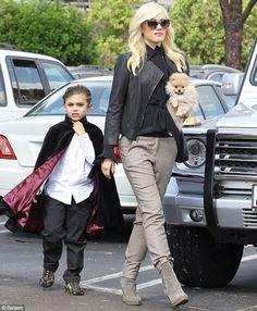 Gwen Stefani's style, grey pants, black jacket