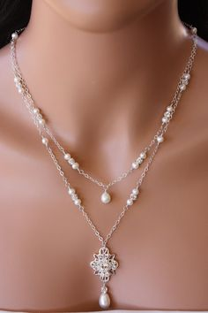 BACK  DROP  NECKLACE  Double Stranded Chain Design with Pearl and Rhinestone Accents on Etsy, $119.99