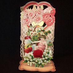 Vintage Diecut Lily of the Valley & Cupid German Valentine