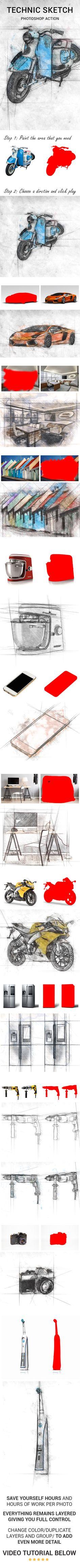 TechnicSketch — Photoshop ABR #art #architect • Available here → https://graphicriver.net/item/technicsketch/18142511?ref=pxcr