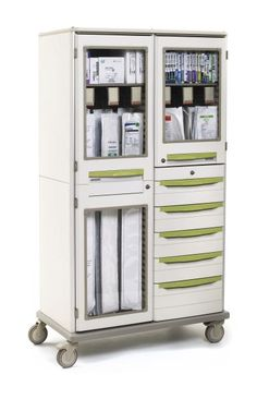THE STARSYS DOUBLE-WIDE MOBILE CATHETER CABINET provides secure storage for valuable instruments with plenty of drawer storage below.  Constructed of an advanced polymer material, this cabinet will not dent, chip, rust, flake or corrode.  The Microban antimicrobial product protection, within the polymer, inhibits the growth of stain and odor-causing bacteria.