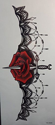 Lovely Spestyle Waterproof and unhazardous Pretend short-term tattoo stickers for women' chest Jewellery design with rose flower and sword