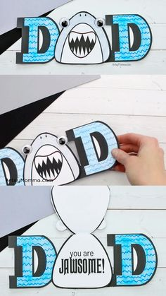 """How to make a shark themed Father's Day card with """"You are Jawsome!"""" shark pun using our printable card template. Kids can color it and give it to their dads. Fun for birthdays too! Perfect for kids who are obsessed with the Baby Shark song! Diy Birthday Cards For Dad, Father Birthday Cards, Happy Fathers Day Cards, Homemade Birthday Cards, Bday Cards, Printable Birthday Cards, Diy Cards For Dad, Happy Birthday Dad Funny, Happy Birthday Crafts"""