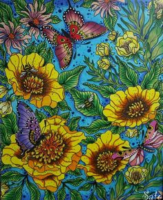 Flowers And Butterflies From Hanna Karlzon's Daydreams Coloring Book (Dagdrommar) - Colored Image/Finished Page