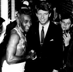 From Kick Kennedy's Instagram - My grandfather (Robert F. Kennedy) with Pele' in 1965 in Brazil