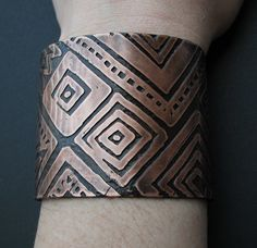 Etched Copper Cuff - Mud Cloth inspired  - handmade copper jewelry - custom patterns available upon request. $47.00, via Etsy.