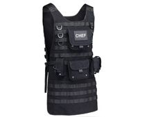The ThinkGeek Tactical BBQ Apron is a real MOLLE system for holding everything a grill master needs. This tactical apron is made of one-hundred-percent high quality cotton and includes two large pouches, three smaller pouches, front and back removable Velcro patches, and an adjustable side strap for the perfect fit! Makes a great gift for father's day 2014!