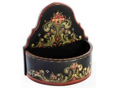 Half-Round Bowl with Gudbrandsdal Rosemaling by Andrea Herkert